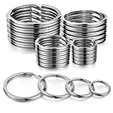 YHYZ Split Key Ring Circle Assorted (Sliver), Metal Flat Round Keyring Durable in 4 Sizes (Small 1/2 inch, 3/4 inch,1...