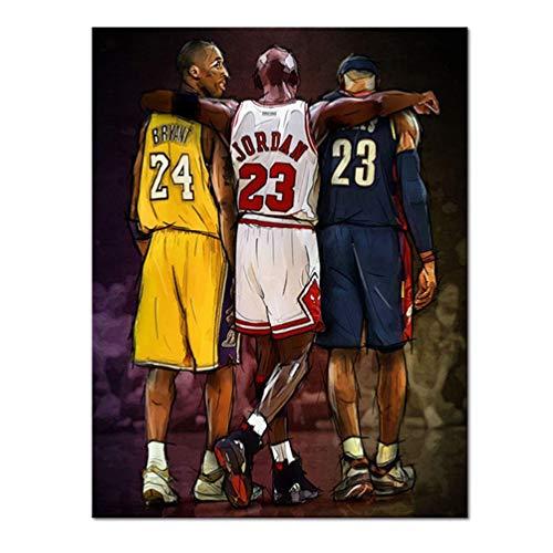 FBART Manifesto del Gioco MVP di Basket, Poster di Nobe Legends Kobe Bryant, Lebron James E Michael Jordan Pictures, Stampa su Tela Decor Wall Art, Basket Memorabilia Gifts, Senza Telaio,60×90cm