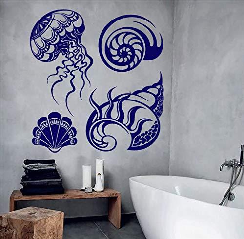 Vinilo que dice letras arte de la pared signo inspirador cita de la pared decoración conchas estilo marinero baño medusas