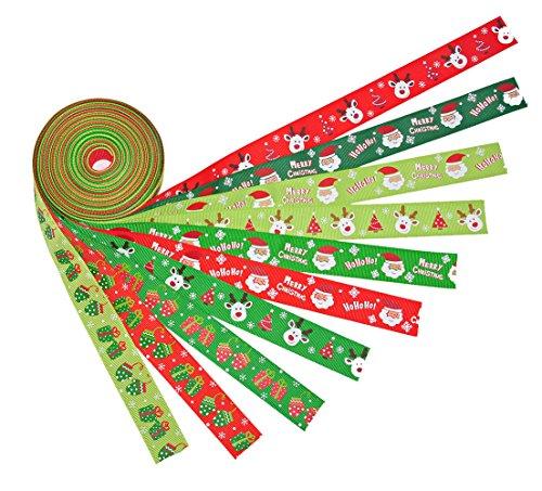 iSuperb 22Yards 9/10''Christmas Ribbon Gift Wrap Ribbon Santa Claus Christmas Gloves Printing Pattern Ribbon Multicolor 10x 2-1/2 Yds