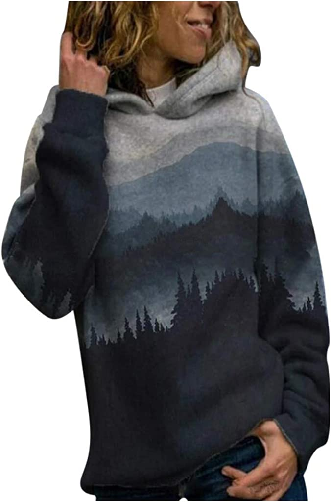 Shakumy Women Landscape Printed Hoodies Pullover Lightweight Sweatshirts Casual Long Sleeve Plus Size Sweaters Blouse Tops