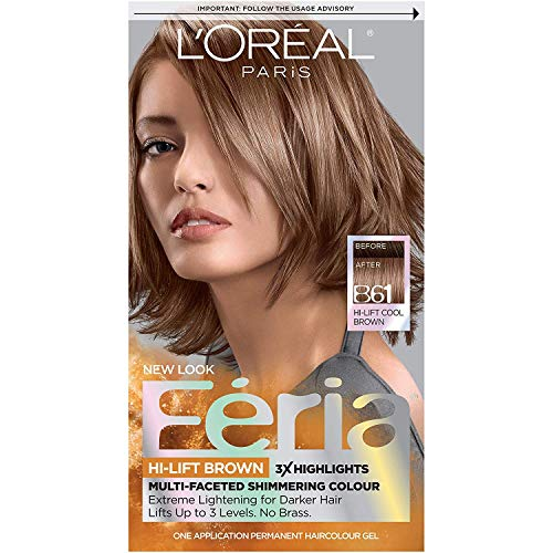 L'Oreal Paris Feria Multi-Faceted Shimmering Permanent Hair Color, B61 Downtown Brown (Hi-Lift Cool Brown), Pack of 1, Hair Dye