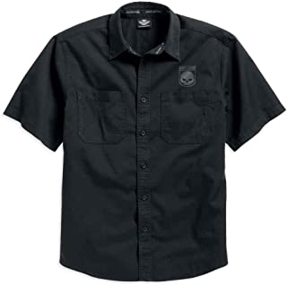 Harley-Davidson Men's Skull Shield Shirt Short Sleeve, Black. 99009-16VM