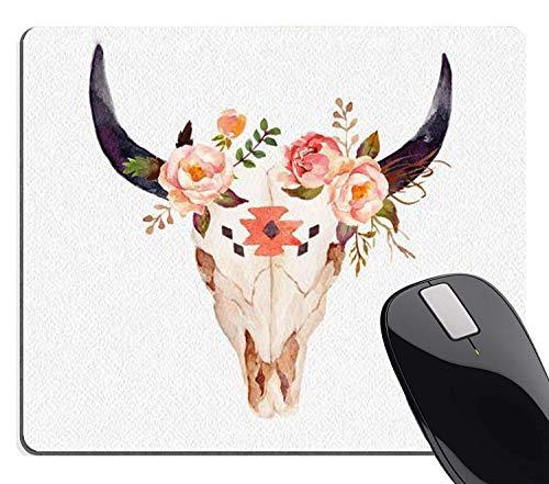 Stier Hoofd Schedel Bloemen Muis Pad Aangepast, Vintage Bloemen Aquarel Illustratie Schilderij Art Rechthoek Mousepad