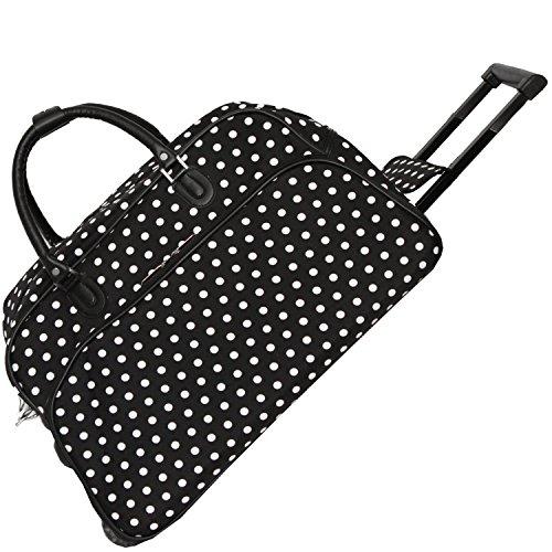 World Traveler 21-Inch Carry-On Rolling Duffel Bag, Black White Dot