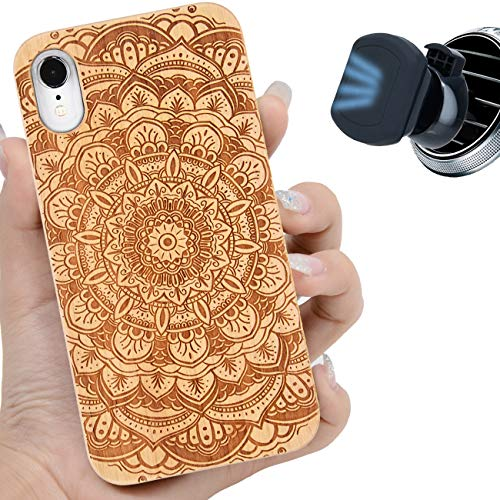 iProductsUS Wood Phone Case Compatible with iPhone XR and Magnetic Mount, Mandala Flower Engraved in USA, Compatible Wireless Charging, Built-in Metal Plate, TPU Protective Cover (6.1 inch)