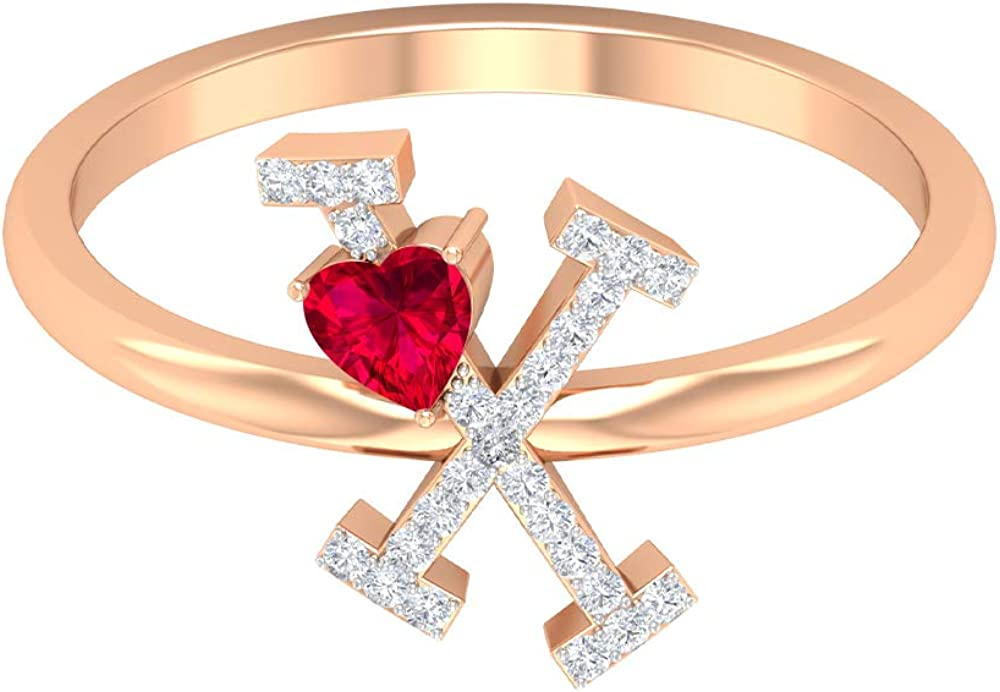 Ruby and Diamond Ring 1/2 CT, Letter X Ring, Gold Alphabet Jewelry (3.5 MM Heart Shaped Ruby), 14K Rose Gold, Size:US 11.0