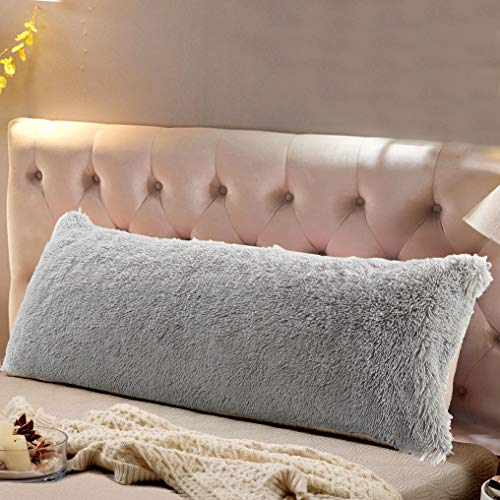 Reafort Luxury Long Hair PV Fur Body Pillow Cover/Case 21'x54' with Hidden Zipper Closure(Grey, 21'X54' Pillow Cover)