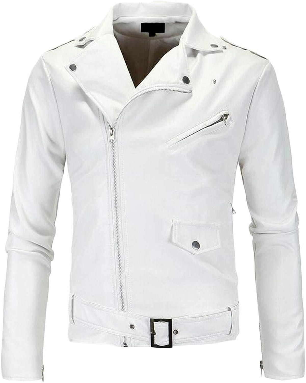 90937fcda jxfd Mens Causal Belted Design Design Design Slim Pu Leather Jacket ...