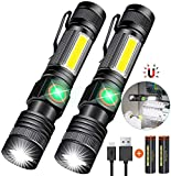 Torch Magnetic Rechargeable with COB Sidelight, Hoxida Zoom Torches LED Flashlights Super Bright
