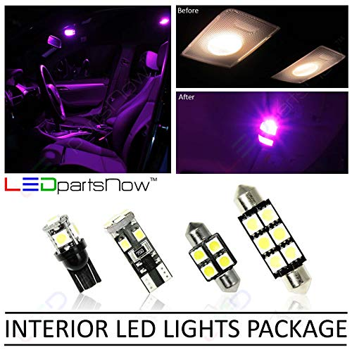 LEDpartsNow Interior LED Lights Replacement for BMW 3 Series E90 E92 M3 2006-2012 FUCHSIA Purple Accessories Package Kit (14 Pieces)