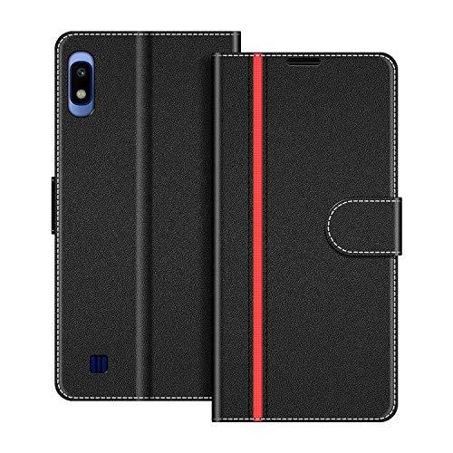 COODIO Handyhülle für Samsung Galaxy A10 Handy Hülle, Samsung Galaxy A10 Hülle Leder Handytasche für Samsung Galaxy A10 / Galaxy M10 Klapphülle Tasche, Schwarz/Rot