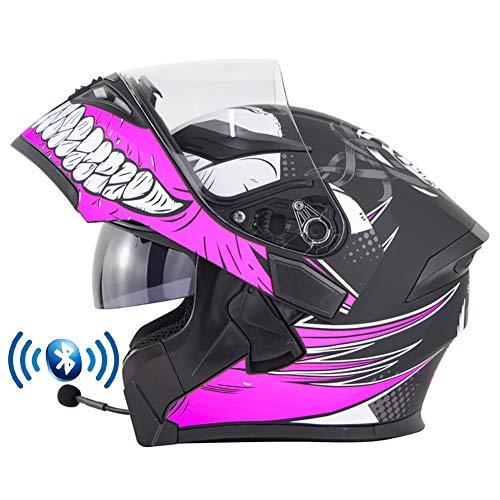 Casco de Moto Modular Bluetooth Integrado con Doble Anti Niebla Visera Flip Up Helmets ECE Homologado a Prueba de Viento Cascos de Motocicleta para Adultos Hombres Mujeres 55-62CM