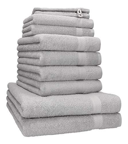 Betz 10-TLG. Handtuch-Set Premium 100prozent Baumwolle 2 Duschtücher 4 Handtücher 2 Gästetücher 2 Waschhandschuhe Farbe Silber