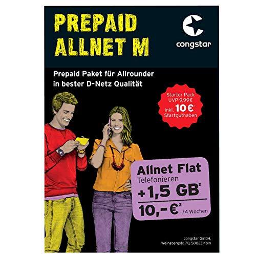 Congstar Prepaid Allnet M mit 10,00 € Guthaben (1,5 GB Datenvolumen + Allnet Flat in alle dt. Netze) SIM Karte