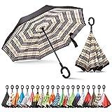 Sharpty Inverted Umbrella, Umbrella Windproof, Reverse Umbrella, Umbrellas for Women, Upside Down Umbrella with C-Shaped Handle (Beige Plaid)