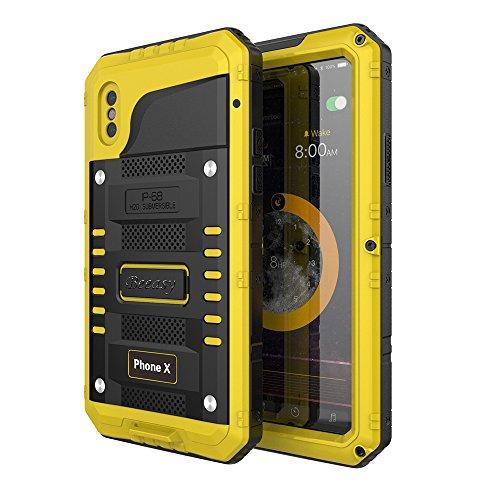 Beeasy Funda Impermeable iPhone X, [Antigolpes Sumergible] Carcasa Resistente Rígida Antipolvos Reforzada Waterproof Metálica Aluminio Grado Militar a Prueba de Agua Case para iPhone 10,Amarillo
