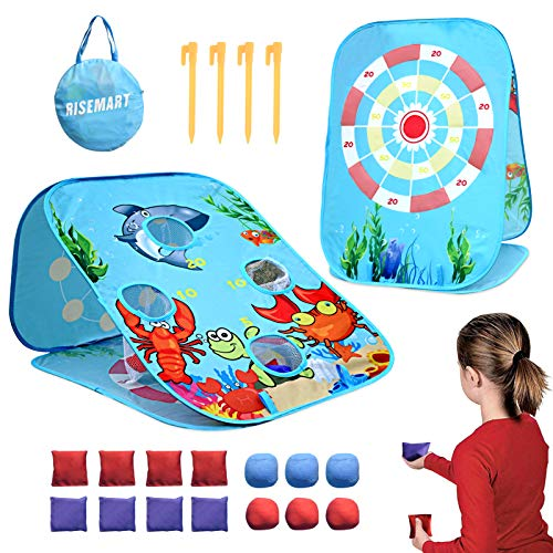 Bean Bag Toss Game Toy for 2 3 4 5 Year Old, Indoor Outdoor Collapsible Three-sided Game Board Sets for Toddlers Kids Ages 4-8,Best Birthday Gift for Boys Girls,Include 8-Beanbags 6-Sticky balls