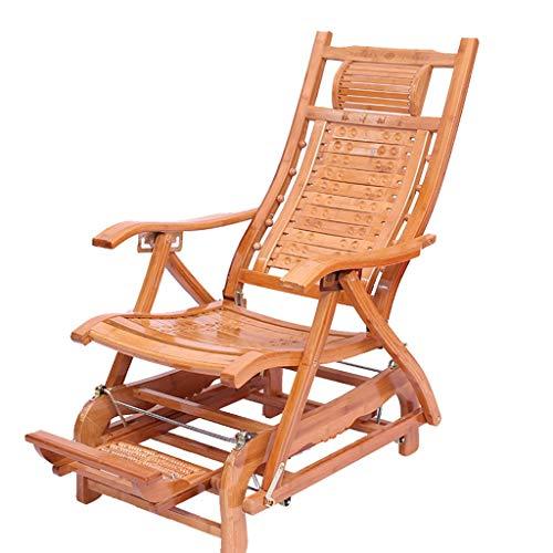 Chaise Zero Gravity en bambou Chaise longue pliante Chaise longue de terrasse inclinable et réglable en hauteur avec repose-pieds massable (Couleur : B)