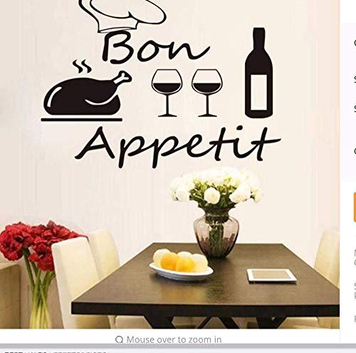 Verwijderbare Vinyl Muursticker Rode Wijn Kip en Glas Bekers Art Muursticker Verwijderbare Muursticker voor Keuken Decoratie 44 * 33Cm