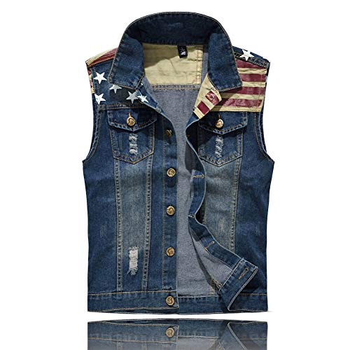 Men's Sleeveless Jacket Button Down Casual Lapel Denim Vest Ripped Hole Plus Size (American Flag, M- Tag XXL BUST 40)