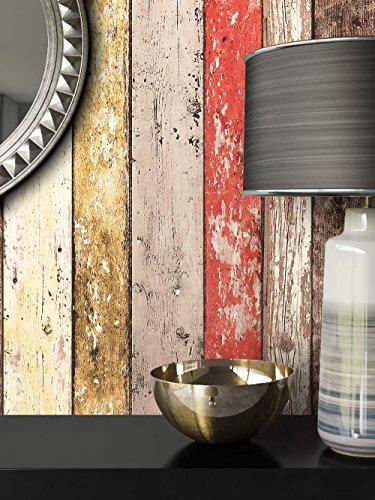 Holz-Muster-Tapete Vlies Beige Rot Braun Edel | schöne edle Tapete im Holzwand-Design | moderne 3D Optik für Wohnzimmer, Schlafzimmer oder Küche inkl. Newroom-Tapezier-Profibroschüre mit super Tipps!