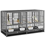 Yaheetech Jaula de Pájaros con Separador de Espacio 95,5 × 45,5 × 52,5 cm Jaula de Cría con Bandeja Jaula para Mascotas (Negro)