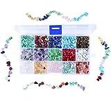 Cizen - Cuentas de piedras preciosas, 15 colores, piedras mixtas irregulares, cuentas de piedras de colores para creación de joyas DIY, 6-8 mm