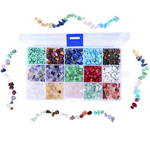 Cizen Perline di Pietre Preziose, 15 Colori Pietre Miste Irregolare, Perline di Pietre Colorate per Creazione di Gioielli Fai da Te, 6-8mm