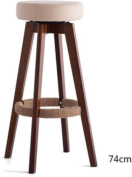 Carl Artbay Wooden Footstool Beige Cushion Brown Wooden Frame High 74cm Bar Chair High Stool Modern Simplicity Rotating Chair Home