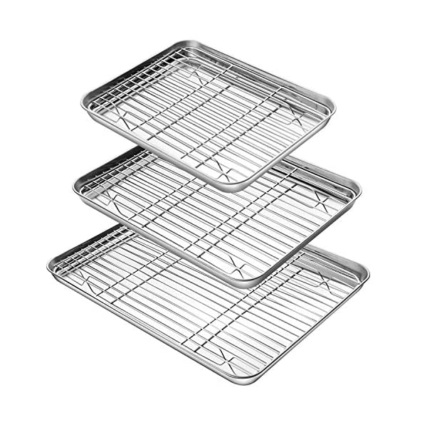 YIHONG Baking Sheet with Rack Set (3 Sheets+3 Racks), Stainless Steel Baking Pans Cookie Sheets with Cooling Racks for Baking Use,Non Toxic, Easy Clean,Dishwasher Safe