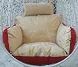 USTHOY Altalena Vaso Appeso Cuscini for sedie, Spessore Seat Swing Ammortizzazione, Nido di Uccello con Testa Cuscino di Vimini del Rattan Sedia a Dondolo Pad Senza piedistallo (Color : B)