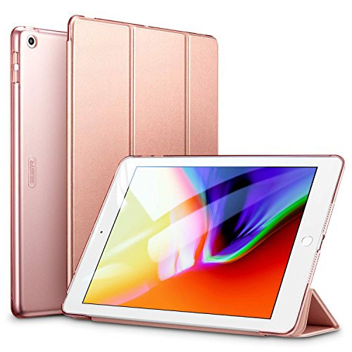 ESR Case for iPad 9.7 Inch 2018/2017, Trifold Stand and Auto Sleep/Wake, Microfiber Lining, Translucent Frosted Back for iPad 9.7 inch (iPad 6, iPad 5),Rose Gold