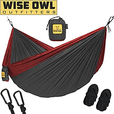 Wise Owl Outfitters Hammock for Camping Single & Double Hammocks - Top Rated Best Quality Gear For The Outdoors Backpacking Survival or Travel - Portable Lightweight Parachute Nylon SO Charcoal & Red