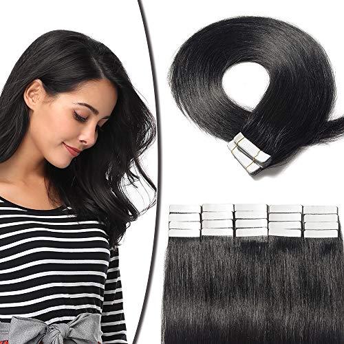 Extension Adhesive Cheveux Naturel 20 Pcs 50g - Rajout Vrai Cheveux Humain Lisse à Bande Adhesive (#01 Noir foncé, 45 cm)
