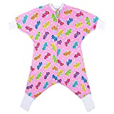 SleepingBaby Flying Squirrel Toddler Pajamas and Sleep Sack, Toddler Wearable Blanket with Anti-Slip Roll up Cuffs for Hands and Feet, Cozy Toddler Footed Pajamas (4T-5T, Butterflies)