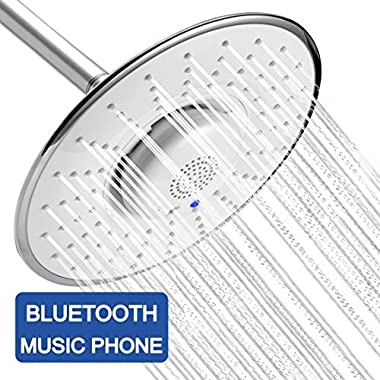 YOO.MEE Bluetooth Fixed Shower Head with Waterproof Bluetooth Speaker- V3.0 w/HD Sound-12 HRS Playing Time- Make Memorable Music Shower- Make and Receive Calls Showering- Luxury Chrome