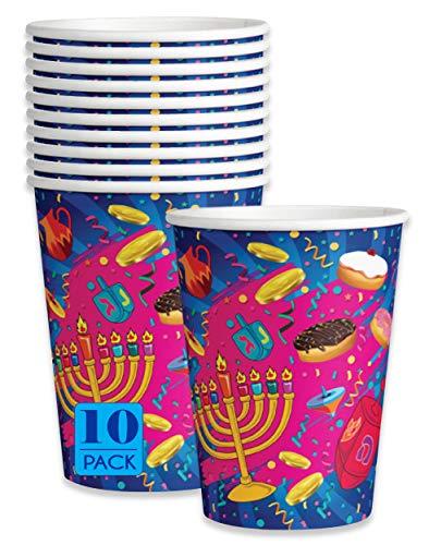 Izzy 'n' Dizzy Hanukkah Cups - Hanukkah Paper Goods - 9 oz - 10 Pack