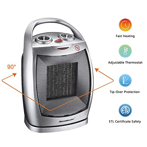 Homeleader Portable Space Heater Electric Heater with Thermostat, Ceramic Heater with Carrying Handle and Tip Over Switch for Home and Office, 750W/1500W Heater Oscillating Space