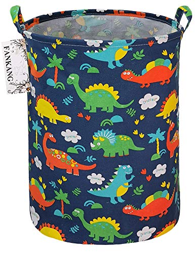 FANKANG Wäschekorb Aufbewahrungsboxen Wasserdichter PE-Beschichtung Große Aufbewahrungskörbe für Kinder Jungen Mädchen Spielzeug Zimmer (Walddinosaurier)