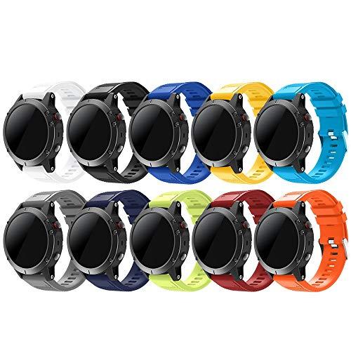 TOPsic Garmin Fenix 5 Sportuhr Armband - Silikon Sportarmband Uhr Armband Ersatzarmband mit Werkzeug für Garmin Fenix 5/Fenix 5 Plus/Fenix 6/Fenix 6 Pro