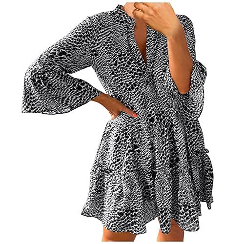 YANFANG Vestido Leopardo,Vestido Casual con Cuello En V Y Manga Farol Estampado De Leopardo para Mujer,Vestido Sin Mujer Midi Dress U Falda Volantes Suelto Ocio Informal,Negro,M