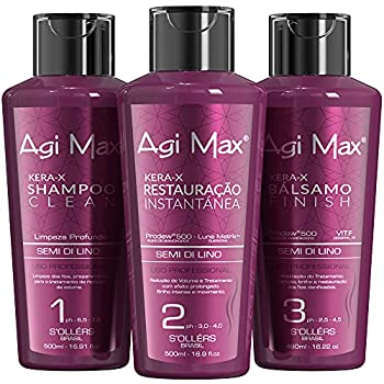 Agi Max Brazilian Natural Keratin Hair Treatment Kit for Straightening Curls and Frizz Reducing Dry Damage Nourish and Hydrate Root to Tip Support Color Treated Styles - 1 liter - 3 Steps  3 x 500ml