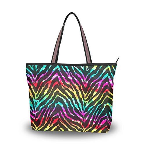 RXYY Animal Zebra Print Rainbow Bolsos y monedero para mujeres Bolso de mano grande capacidad superior asa...