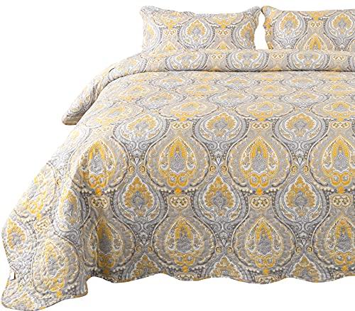 Qucover Paisley Tagesdecke Bettüberwurf mit Kissenbezug Bunt Böhmisch Steppdecke Gelbgrau Weich Gesteppte Decke für Doppelbett Boho Stil Sofaüberwurf Bettüberwurf (230x250 cm, Paisley1)