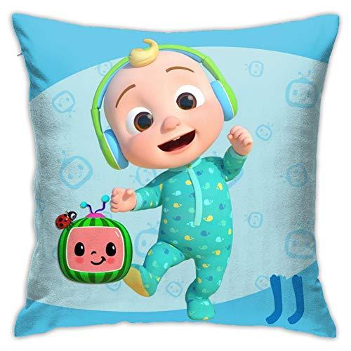 YTBHG Funda de almohada de diseño lindo para ropa de cama, sofá, hogar, decoración cuadrada, tela de algodón, cojín de cama para niños de 45,7 x 45,7 cm estándar