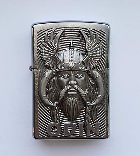 Zippo Zippo Odin with Blue Eyes-Limited Edition 0001/1000-1000/1000-Chrome Brushed Feuerzeug, Chrom, Silber, 5.8 x 3.8 x 1.8 cm Silber