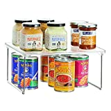 iDesign Pantry Storage Unit, Shelf Organiser Made of Durable Plastic and Metal, Practical Kitchen Storage Organiser for Food, Kitchen Accessories and Utensils, Clear/Silver