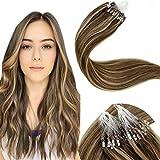 LaaVoo 16Pulgadas/40cm Remy Pelo Natural Extensiones de Microring Hair Rings Cabello 100% Humano Highlighted 50Gramo (Marron Oscuro y Caramelo Rubio #4/27)