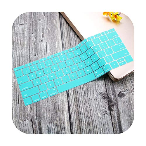 Silicone Keyboard Cover Protective Skin for MacBook Pro 13 inch 2019 2018 2017 A1708 Without Touch Bar MacBook 12 inch A1534-whiteblue